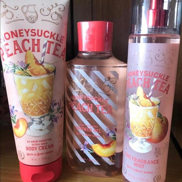 NEW BBW Honeysuckle Peach Tea 3-pc